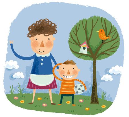 Portrait of mother & son Illustration