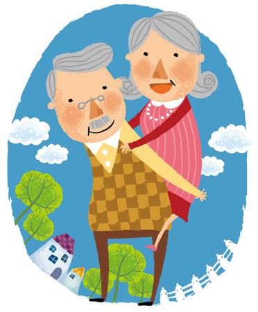 Elderly man gives elderly wife piggy back Illustration