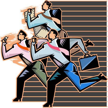 Side view of businessmen running Illustration