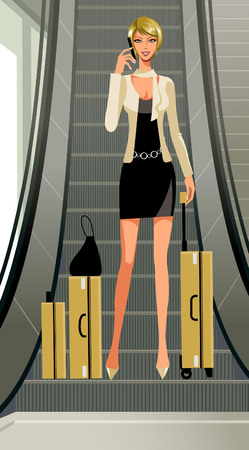 A woman with her luggage at the escalators Illustration
