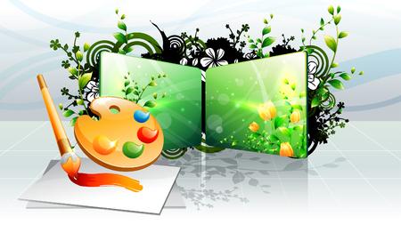 Paint tray and paint brush Banco de Imagens - 78835609