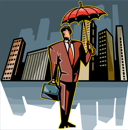 Businessman holding umbrella and suitcase, skyscrapers in background