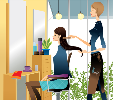 eyes looking down: Side view of Hairdresser combing womans hair