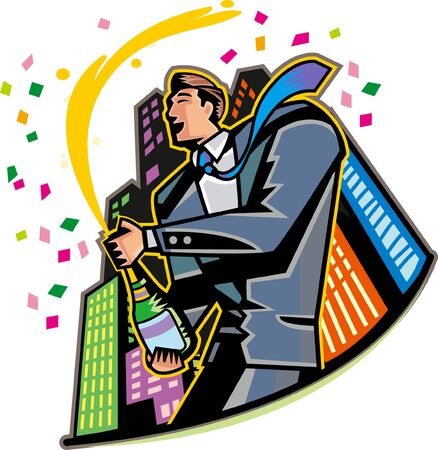 Close-up of businessman celebrating with champagne Illustration