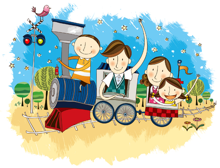 happy couple: Happy family travelling in Train
