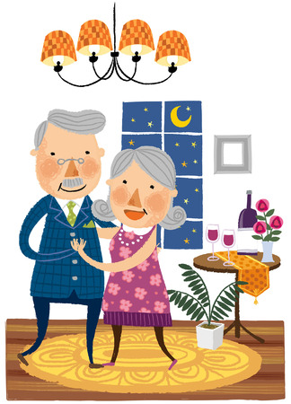 white wine: Elderly couple dancing together Illustration