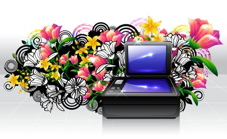 Flat Bed Scanner with flora design Banco de Imagens - 78835632
