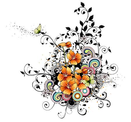 Orange flowers with design element