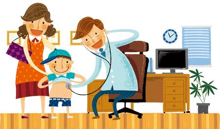 Doctor examining boy child Illustration