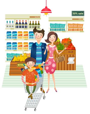 Retrato de familia haciendo compras desde el supermercado Vectores