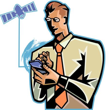 digitized: Close-up of businessman holding palmtop