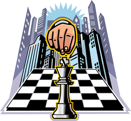 Close-up of human hand on chess piece on chessboard Illustration