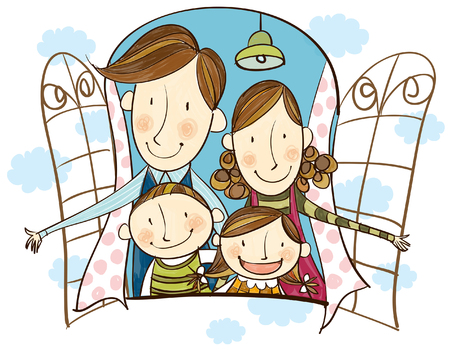 creative arts: Portrait of happy family looking out of window
