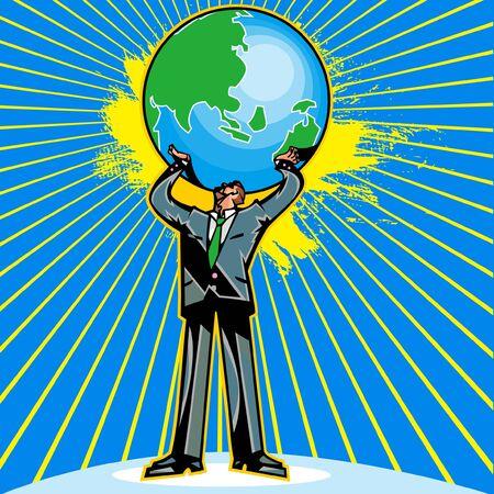 Businessman holding up the globe Illustration