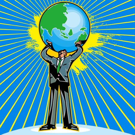Businessman holding up the globe Illustration