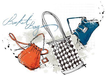 Feminine Bags, vector illustration isolated on white background.