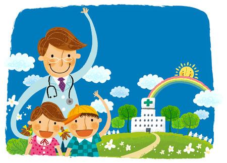 Doktor und zwei Kinder verabschieden sich Standard-Bild - 78836958