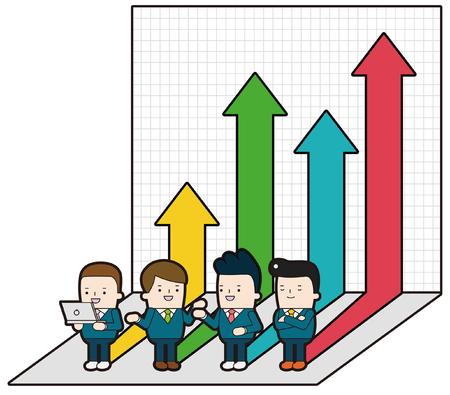 mid adult men: Economic Effect, vector illustration on white background. Illustration