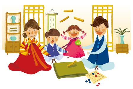Family playing tibetian chess