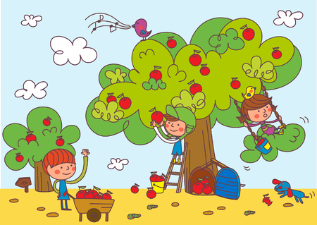 かわいいリンゴの木の下で遊んでいる子供たち。