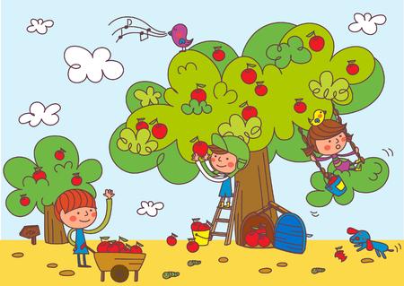 귀여운 어린이 사과 나무 아래 놀고입니다.