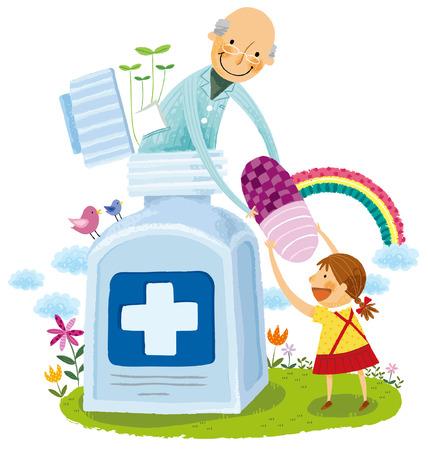 Elderly man giving girl child capsule from medicine bottle Illustration