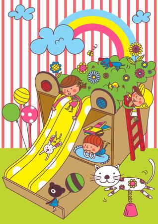 rainbow slide: Cute Children playing. Illustration