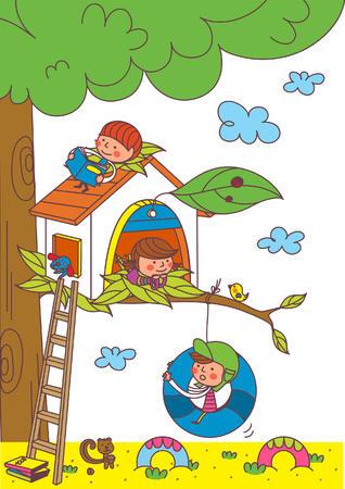 Cute Children playing, vector illustration.