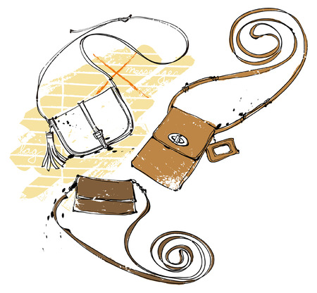 Feminine Bags, vector illustration isolated on white background.