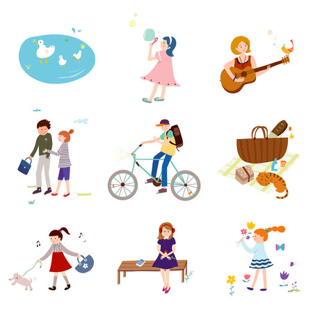 Simple life icons set. Illustration