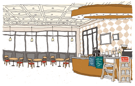 Bar counter with bottles and chairs arrangement Illustration