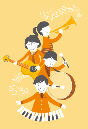 Group of people playing musical instrument Illustration