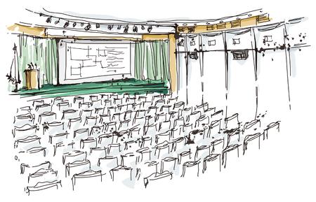 Illustration of auditorium Ilustração