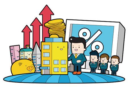 mid adult men: Economic Effect, vector illustration isolated on white background.