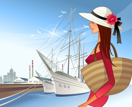 Woman with sailboats in background