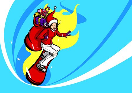 Side profile of a woman in a Santa costume snowboarding with a sack of Christmas presents on her back