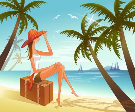 female likeness: Woman sitting on suitcase overlooking sea Illustration