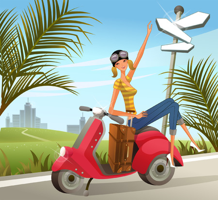 Woman sitting on motor scooter with luggage by signpost Illustration