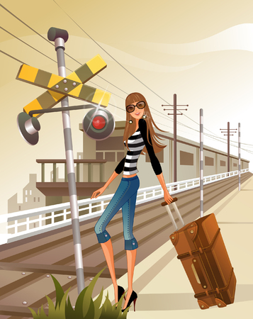 Woman with luggage standing by railroad crossing sign Illustration