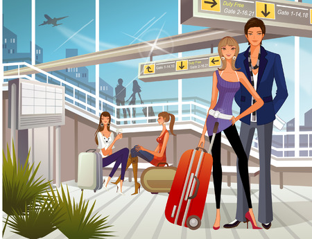 female likeness: People waiting at airport lounge