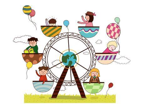 Ferris wheel in the amusement park