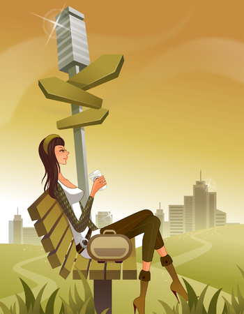 knee boots: Woman sitting on bench by post with arrow signs Illustration