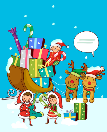 Girls standing near a sleigh of Christmas presents Illustration