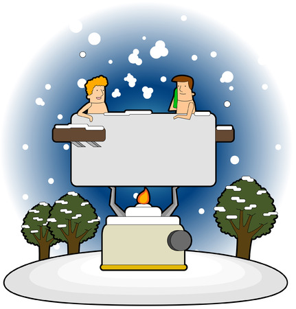Two people in the bath Illustration