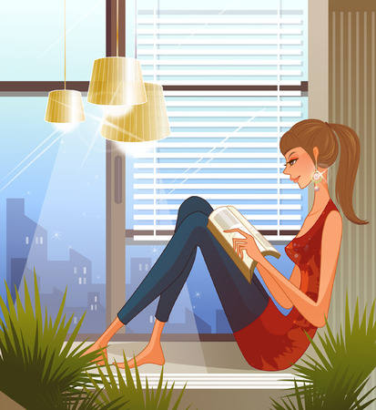 Woman sitting on window sill, reading book Illustration