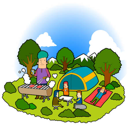 Camping friends Illustration