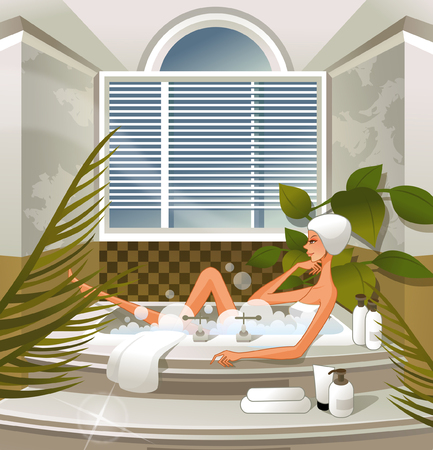 Woman bathing in bathtub Illustration