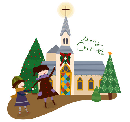 Christmas Church Illustration