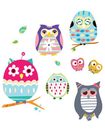 fiddlestick: various owls Illustration