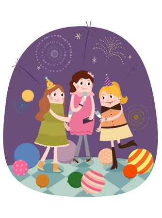 night dress: Having a party with friends Illustration